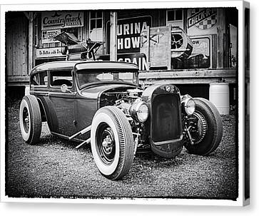 Classic Hot Rod In Black And White Canvas Print by Thomas Young