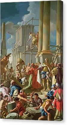 Classical Construction Scene Oil On Panel Canvas Print by Francesco de Mura