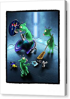 Cleanup The Alien Pigs Canvas Print by Star  Mudersbach