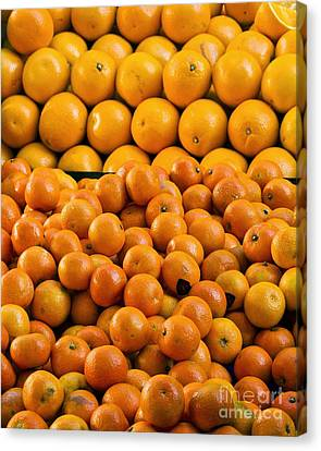 Clementines And Oranges In Market Canvas Print by Martyn F. Chillmaid