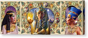 Cleo Tut Neffi Triptych Canvas Print by Andrew Farley