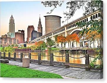 Cleveland Ohio Alongside The Cuyahoga Canvas Print by Frozen in Time Fine Art Photography
