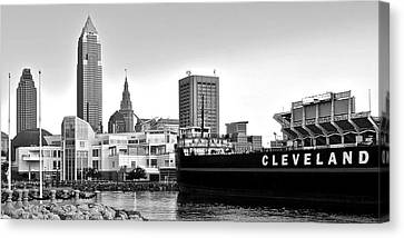 Cleveland Ohio Black And White Panorama Canvas Print by Frozen in Time Fine Art Photography