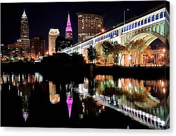 Cleveland Ohio Reflects Canvas Print by Frozen in Time Fine Art Photography