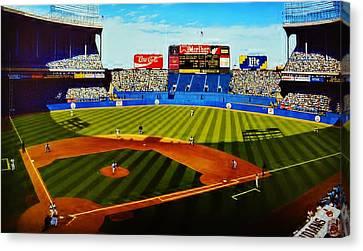 Cleveland Stadium Canvas Print by Thomas  Kolendra