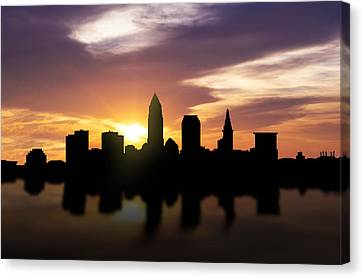 Cleveland Sunset Skyline  Canvas Print by Aged Pixel