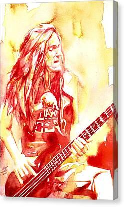 Cliff Burton Playing Bass Guitar Portrait.1 Canvas Print by Fabrizio Cassetta