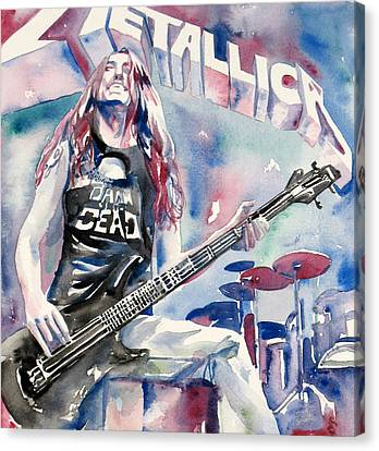 Cliff Burton Playing Bass Guitar Portrait.2 Canvas Print by Fabrizio Cassetta