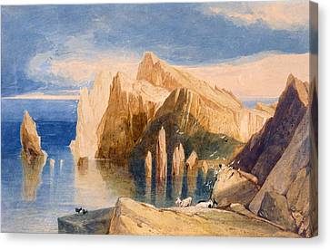 Cliffs On The North East Side Of Point Canvas Print by John Sell Cotman