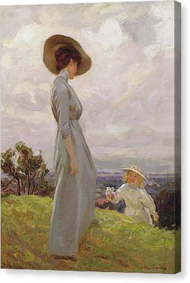 Climbing Up The Hillside Canvas Print by Frederick Stead