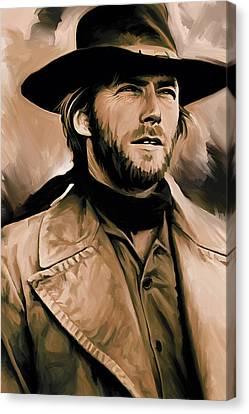 Clint Eastwood Artwork Canvas Print by Sheraz A