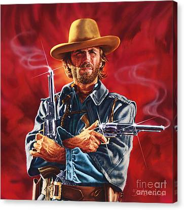 Clint Eastwood Canvas Print by Dick Bobnick