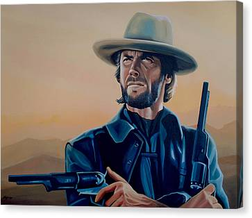Clint Eastwood Painting Canvas Print by Paul Meijering
