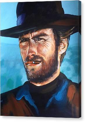 Clint Eastwood Portrait Canvas Print by Robert Korhonen