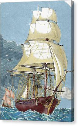 Clipper 19th-century Colored Engraving Canvas Print by Prisma Archivo