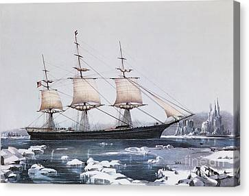 Clipper Ship Red Jacket In The Ice Off Cape Horn On Her Passage From Australia To Liverpool Canvas Print by American School