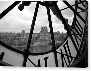 Clock At Musee D'orsay Canvas Print by Chevy Fleet