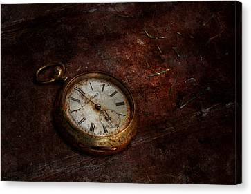 Clock - Time Waits Canvas Print by Mike Savad