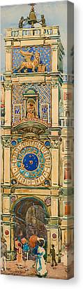 Clock Tower In Saint Mark's Square Venice Canvas Print by Mountain Dreams