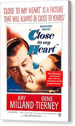 Close To My Heart, Us Poster, From Left Canvas Print by Everett
