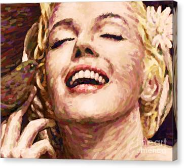 Close Up Beautifully Happy Canvas Print by Atiketta Sangasaeng