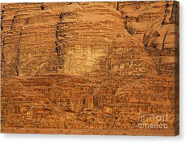 Close Up Of A Rocky Outcrop At Wadi Rum In Jordan Canvas Print by Robert Preston