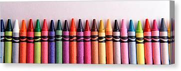 Close-up Of Assorted Wax Crayons Canvas Print by Panoramic Images