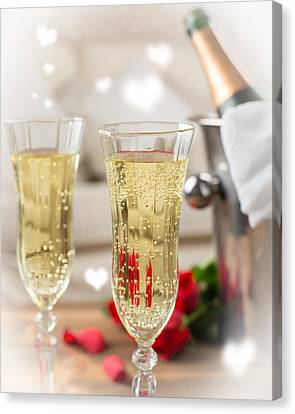 Close Up Of Champagne Canvas Print by Amanda And Christopher Elwell