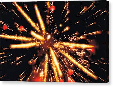 Close Up Of Ignited Fireworks Canvas Print by Panoramic Images