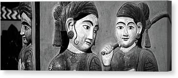 Close-up Of Mural On A Wall, Jaipur Canvas Print by Panoramic Images