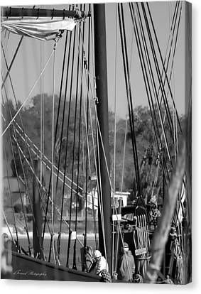 Close Up Of Tall Ship  Canvas Print by Debra Forand