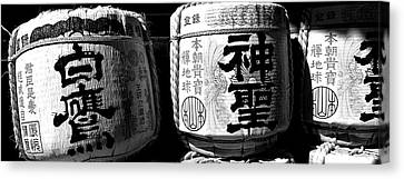 Close-up Of Three Dedicated Sake Canvas Print by Panoramic Images