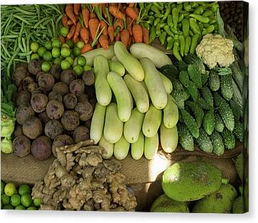 Close-up Of Vegetables For Sale On Main Canvas Print by Panoramic Images