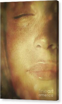 Close-up Of  Woman's Face In Dreamlike State Canvas Print by Sandra Cunningham