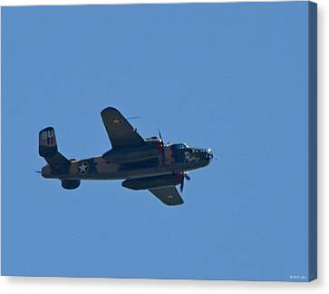 Close Up Of Yellow Rose Wwii B25 Bomber Over Florida 21 April 2013 Canvas Print by Jeff at JSJ Photography