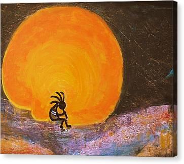 Closer View Kokopelli On A Marmalade Moon Night Canvas Print by Anne-Elizabeth Whiteway