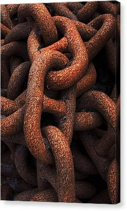 Closeup Of Metallic And Rusty Chains Canvas Print by Mikel Martinez de Osaba