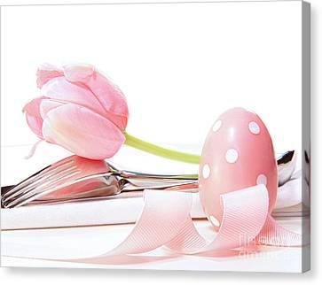 Closeup Of Tulip And Utensils On Pale Pink Canvas Print by Sandra Cunningham