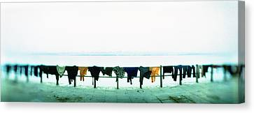 Clothes Drying At The Riverbank, Ganges Canvas Print by Panoramic Images