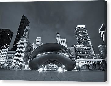 Cloud Gate And Skyline - Blue Toned Canvas Print by Adam Romanowicz