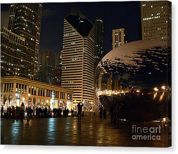 Cloudgate In Snow Canvas Print by David Bearden