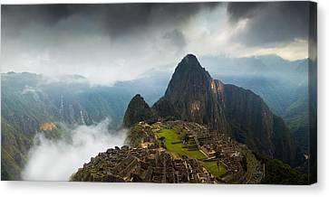 Clouds About To Envelop Machu Picchu Canvas Print by Alison Buttigieg