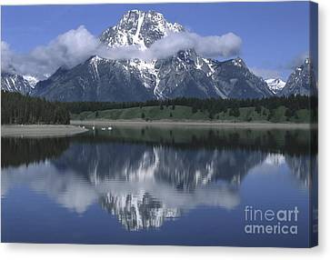 Clouds And Mt. Moran - Grand Teton Canvas Print by Sandra Bronstein