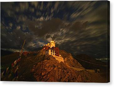 Clouds And Stars Over Tsemo Canvas Print by Aaron S Bedell