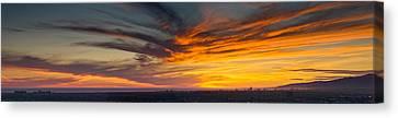 Clouds In The Sky At Dusk, Marina Del Canvas Print by Panoramic Images