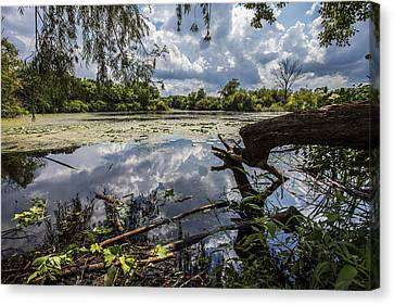 Clouds On The Water Canvas Print by CJ Schmit