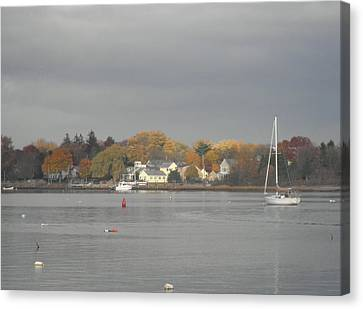 Cloudy Autumn Day On Wickford Harbor Canvas Print by Kate Gallagher