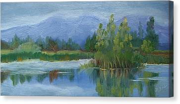 Cloudy Day At Walden Ponds Canvas Print by Margaret Bobb