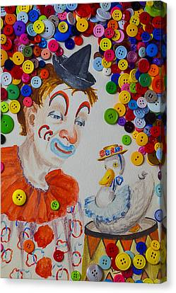 Clown And Duck With Buttons Canvas Print by Garry Gay
