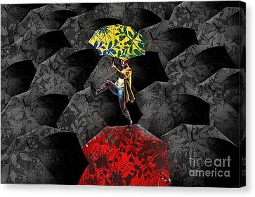 Clowning On Umbrellas 01 - C07c Canvas Print by Variance Collections